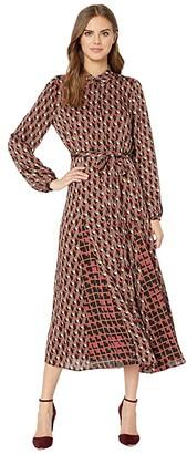 BCBGMAXAZRIA Midi Printed Dress (Cerise/Paradox Maze) Women's Clothing