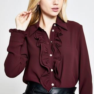 River Island Womens Rust frill front long sleeve shirt