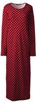 Lands' End Women's Petite Long Sleeve Midcalf Nightgown-Cherry Jam Diamonds