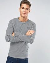 Lindbergh Long Sleeve Top with Stripe In White