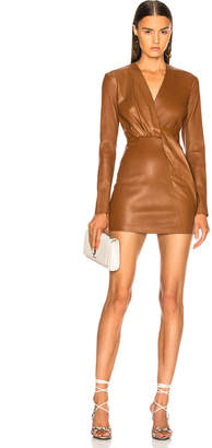 Zeynep Arcay Belted Leather Mini Dress in Tobacco | FWRD