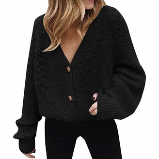 Rikay Women Sweater Rikay Womens Chunky Cable Knitted Long Sleeve Button Ladies Grandad Long Cardigan Baggy Pullover Jumpers Size 14-22 UK Black