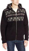 DKNY Men's Long Sleeve Full Zip Sweater Hoodie with Jacquard Yoke