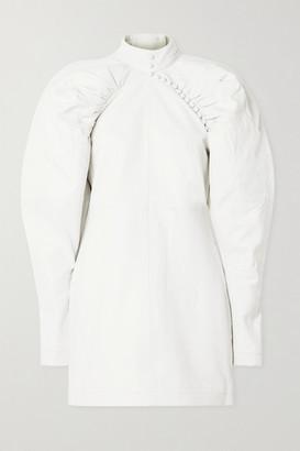 Rotate by Birger Christensen Kim Button-detailed Leather Mini Dress - Off-white
