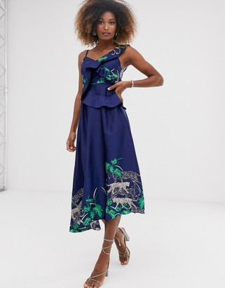 Liquorish maxi dress with ruffle detail in placement tiger print