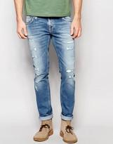 Nudie Jeans Long John Skinny Fit Ben Replica Distress Repaired Light Wash