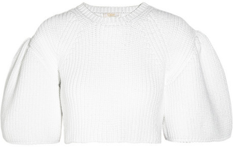 Chloé Chunky-knit cotton-blend cropped sweater