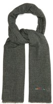 Paul Smith Topstitched Wool-blend Scarf - Mens - Grey