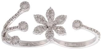 YEPREM 18kt White Gold Diamond Flower Two Finger Ring