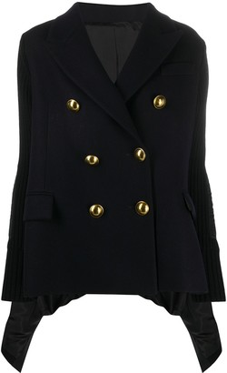 Sacai Contrast Panel Embossed Button Double-Breasted Coat