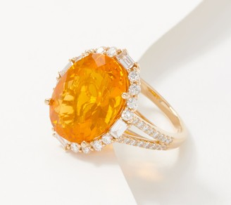 Fire Opal and Diamond 14K Gold Oval-Cut Ring, 5.25 cttw