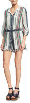 Alice + Olivia Nance Embroidered Smocked-Waistband Romper, Multi
