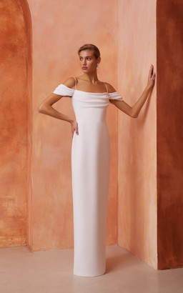 Rasario Bridal Draped Off-The-Shoulder Crepe Gown