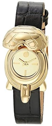 Tory Burch Turtle Croco Embossed Leather Watch (Green) Watches