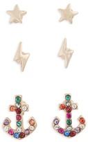 Topshop Women's Pack Of 3 Star, Lightning & Anchor Stud Earrings