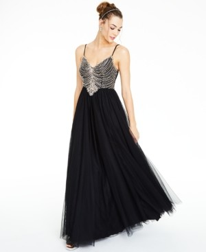 Say Yes to the Prom Juniors' Beaded Mesh Gown, Created for Macy's