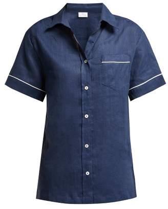 Pour Les Femmes - Short-sleeved Linen Pyjama Top - Womens - Navy