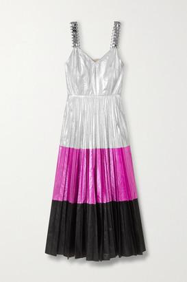 Christopher Kane Embellished Pleated Color-block Crinkled-lame Midi Dress - Silver