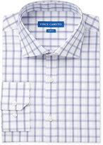 Vince Camuto Men's Slim-Fit Indigo/White Windowpane Dress Shirt