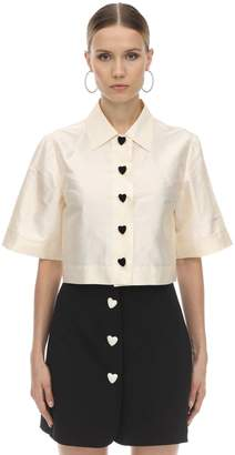 George Keburia Cropped Heart Button Satin Shirt