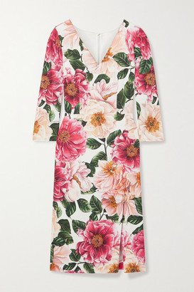 Dolce & Gabbana Floral-print Stretch-crepe Midi Dress - Pink