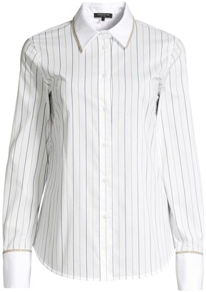 Lafayette 148 New York Linley Chain Detail Pinstripe Blouse