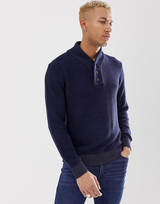 G Star G-Star Tain shawl neck knitted sweater in navy
