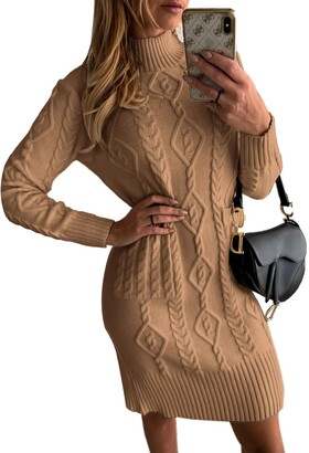 BLENCOT Women Cable Knit Bodycon Mini Sweater Dress Casual Long Sleeve Pullover Jumper Dress Brown