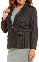Calvin Klein Plus Notched Lapel One-Button Front Pinstripe Jacket