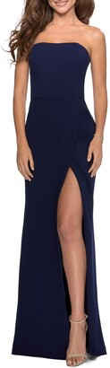 La Femme Strapless Double Cross Back Gown