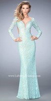 La Femme Open Back Long Sleeve Lace Prom Gown