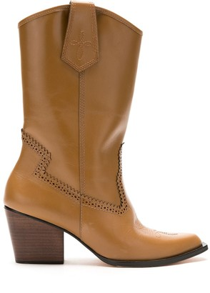 Nk Leather Mid-Calf Length Boots