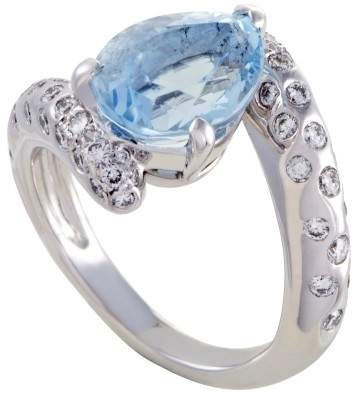 Chanel 18K White Gold with Diamond and Aquamarine Ring Size 4.25