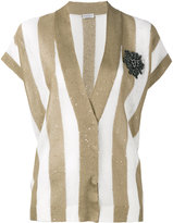 Brunello Cucinelli short sleeve stripe cardigan - women - Silk/Linen/Flax - S