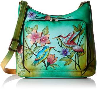 Anuschka Anna By Anna by Women's Genuine Leather Large Studded Satchel | Zip-Top Organizer | Birds in Paradise Green