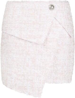 Balmain asymmetric bouclé skirt