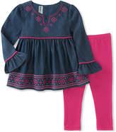Kids Headquarters Blue Bell-Sleeve Tunic & Leggings - Infant, Toddler & Girls