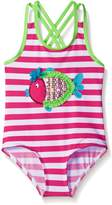 Wippette Toddler Girls Stripes with Fish Applique Swimsuit