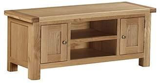 Roseland Furniture Surrey Oak Light Honey Waxed Large TV Unit, Brown