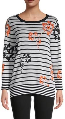 Joseph A Striped Floral Sweater