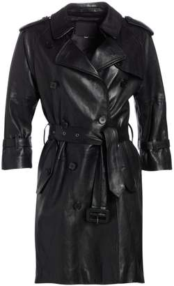 R 13 Three-Quarter Sleeve Leather Trench Coat