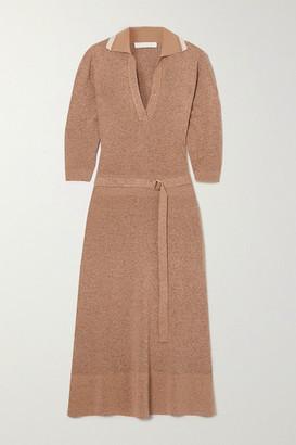 Chloé Belted Melange Wool And Silk-blend Midi Dress