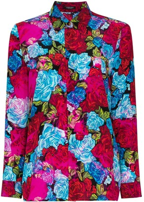 Versace Floral-Print Silk Shirt