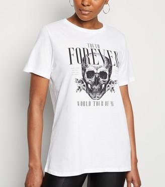 New Look Slogan Truth Forever Skull Rock T-Shirt