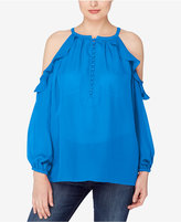 Catherine Malandrino Catherine Ruffled Cold-Shoulder Top