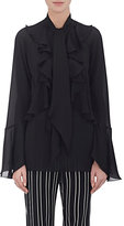 Givenchy Women's Charmeuse Ruffled Tieneck Blouse-BLACK