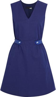 Love Moschino Gathered Slub Cotton And Linen-blend Mini Dress