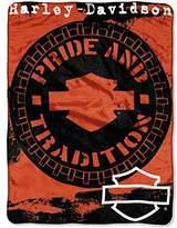 Harley-Davidson Wheels Micro Raschel Throw Blanket, Black & Orange NW047099