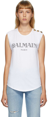 Balmain White 3-Button Logo Tank Top