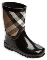 Burberry Kid's Rubber & Check Cotton Rain Boots